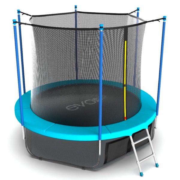 EVO Jump Батут 10 футов с внутренней сеткой, лестницей и нижней сетью (морская волна), Internal 10ft Wave + Lower net