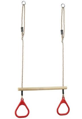 Perfetto Sport Кольца гимнастические с трапецией (красные), PS-310