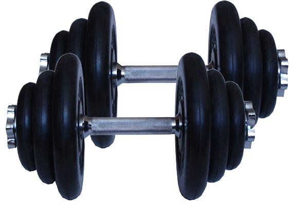 MB Barbell Комплект: Две разборные обрезиненные гантели по 19 кг (диски серии