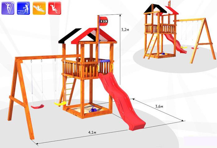 Детская деревянная площадка для дачи чертежи