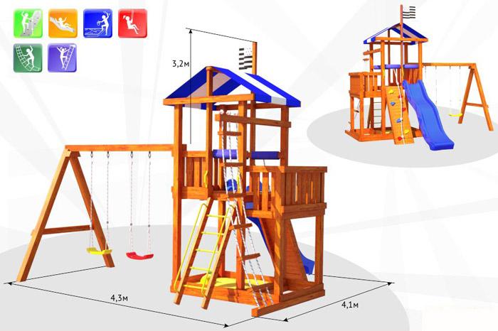 Самсон Детский игровой деревянный комплекс для улицы Бретань