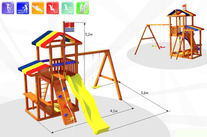 Самсон Детский игровой деревянный комплекс для улицы Кирибати