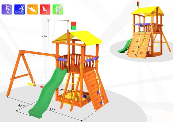 Чертеж детской площадки с размерами